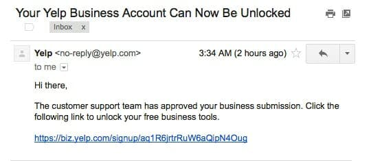 Email You Will Receive to Unlock Yelp Listing