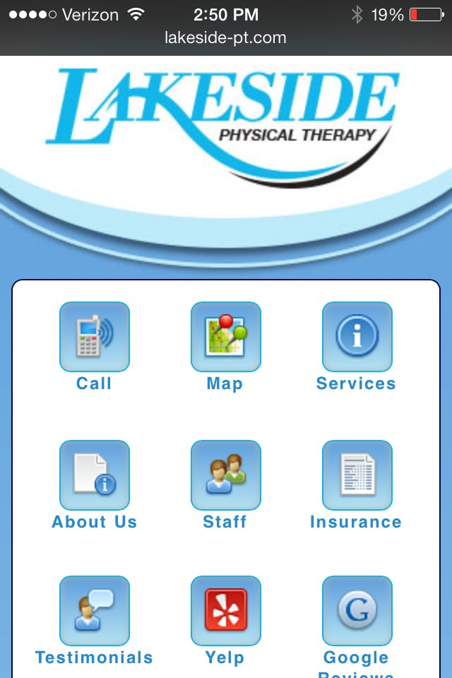 Physical Therapy Mobile Websites - include a link to yelp