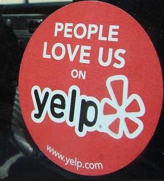 yelp window sticker