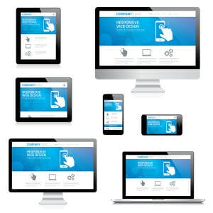 Modern responsive web design computer, laptop, tablet and smartp