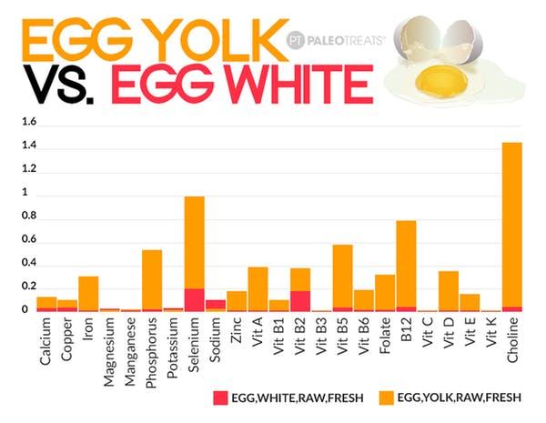 egg white vs egg yolk chart