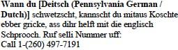 Pennsylvania German/Dutch Tagline