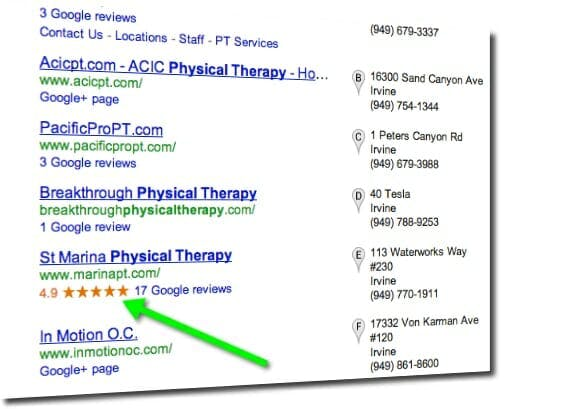 physical therapy search engine marketing