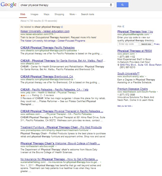 poor physical therapy website search results