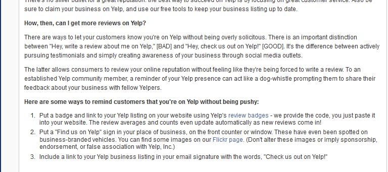 Yelp Terms Regarding Reviews