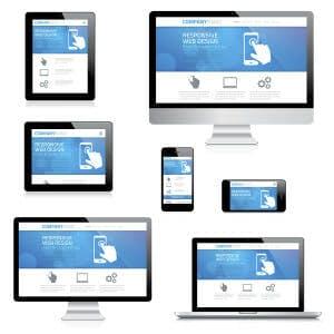 Modern responsive web design computer, laptop, tablet and smartp