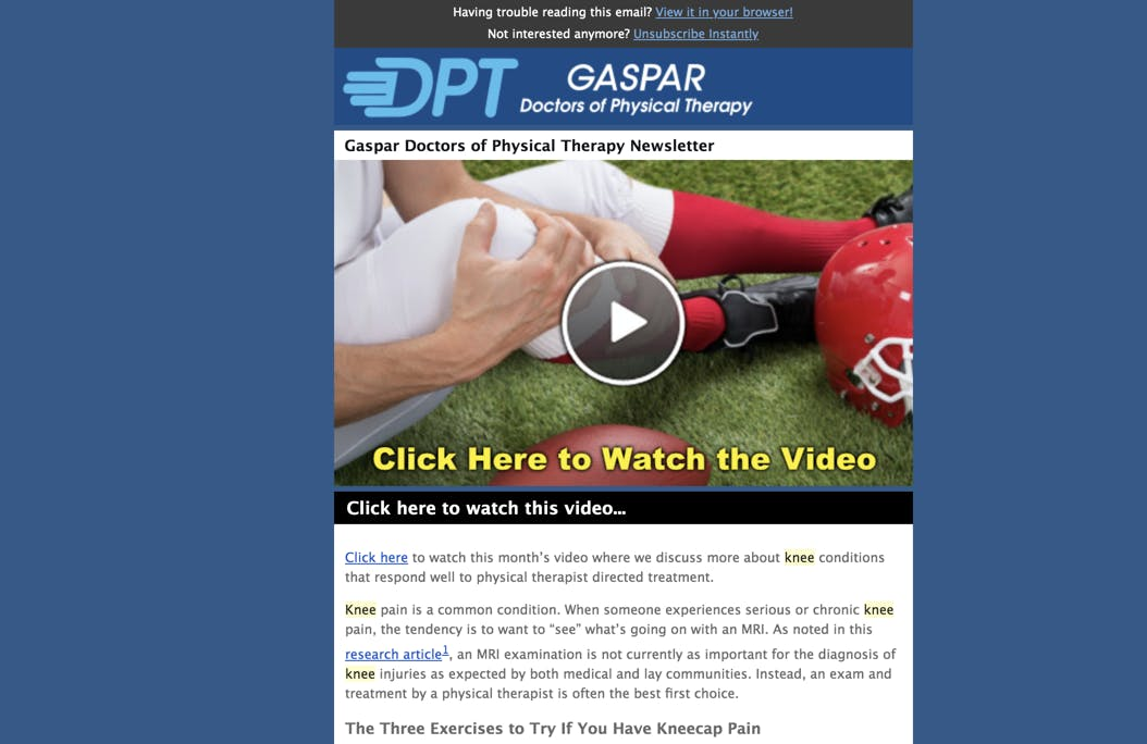 physical therapy email newsletter example