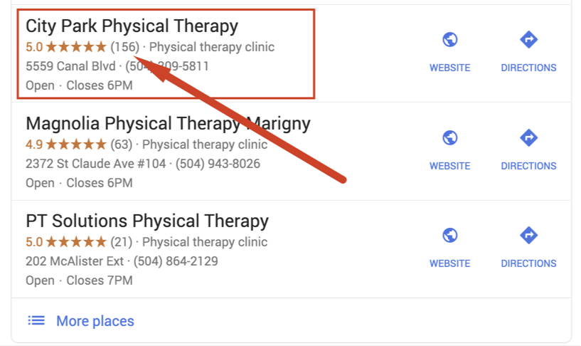 physical therapy reputation management ratings and reviews