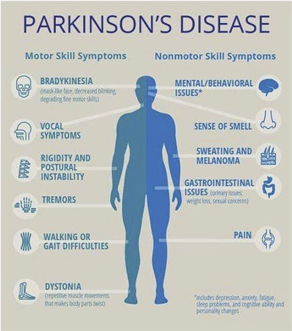 Image showing the signs and symptoms of Parkinson's Disease