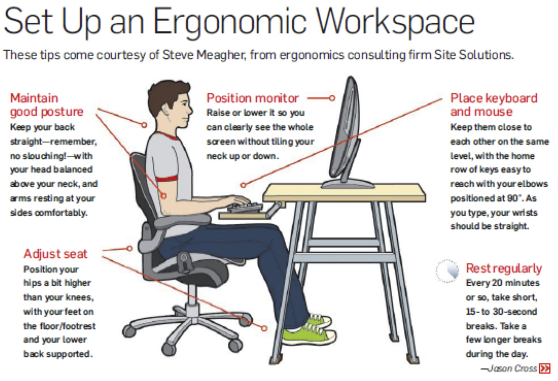 setting up an ergonomic workspace