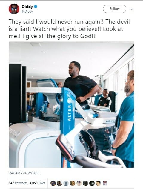"""Sean """"P. Diddy"""" Combs using the AlterG AntiGravity Treadmill"""