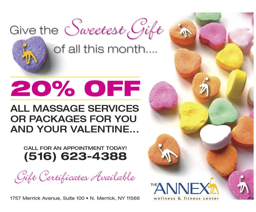 Give the Sweetest Gift of all this month… 20% off all massage services or packages for you and your valentine… Call for an appointment today! (516) 623-4388 | Gift Certificates Available.