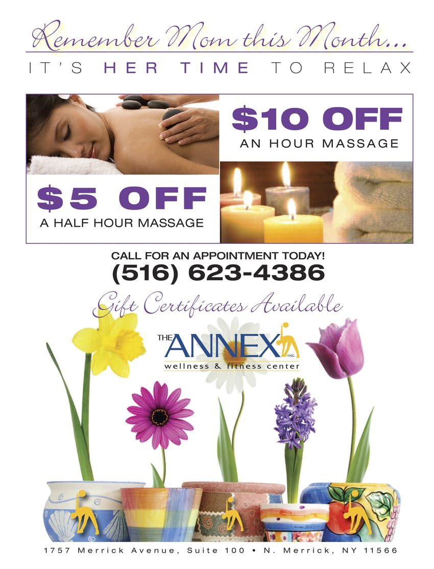 Remember Mom this Month... It's Her Time to Relax | $10 off an hour massage | $5 off a half-hour massage | Call for an appointment today! (516) 623-4386 | Gift Certificates Available