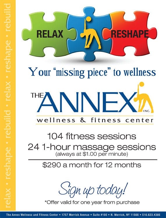 Relax & Rehape - 104 fitness sessions and 24 one-hour massage sessions $290 per month for 12 months