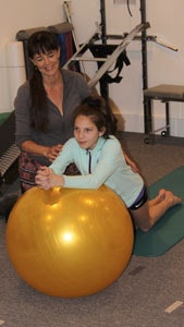 exercise ball workout, one-on-one treatment