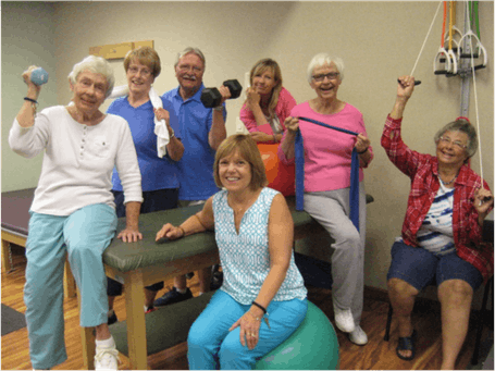 Sue Foley 2015, Sally Stohl 2015, Doug Bergstrom 2015, Cecelia Nosel, Wellness Trainer, Sue Abdella 2014, Kay Allwood 2016 and front: Cathy Moots 2016