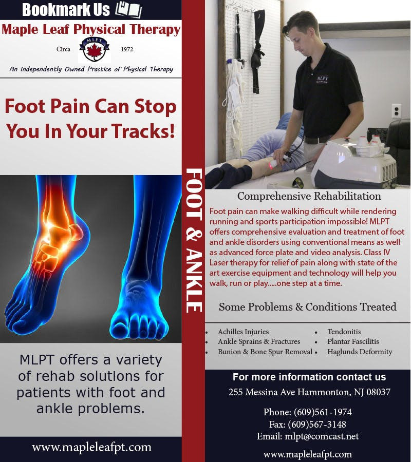 Maple Leaf Physical Therapy | Foot bookmark