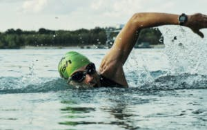 Swimmer with elbow high