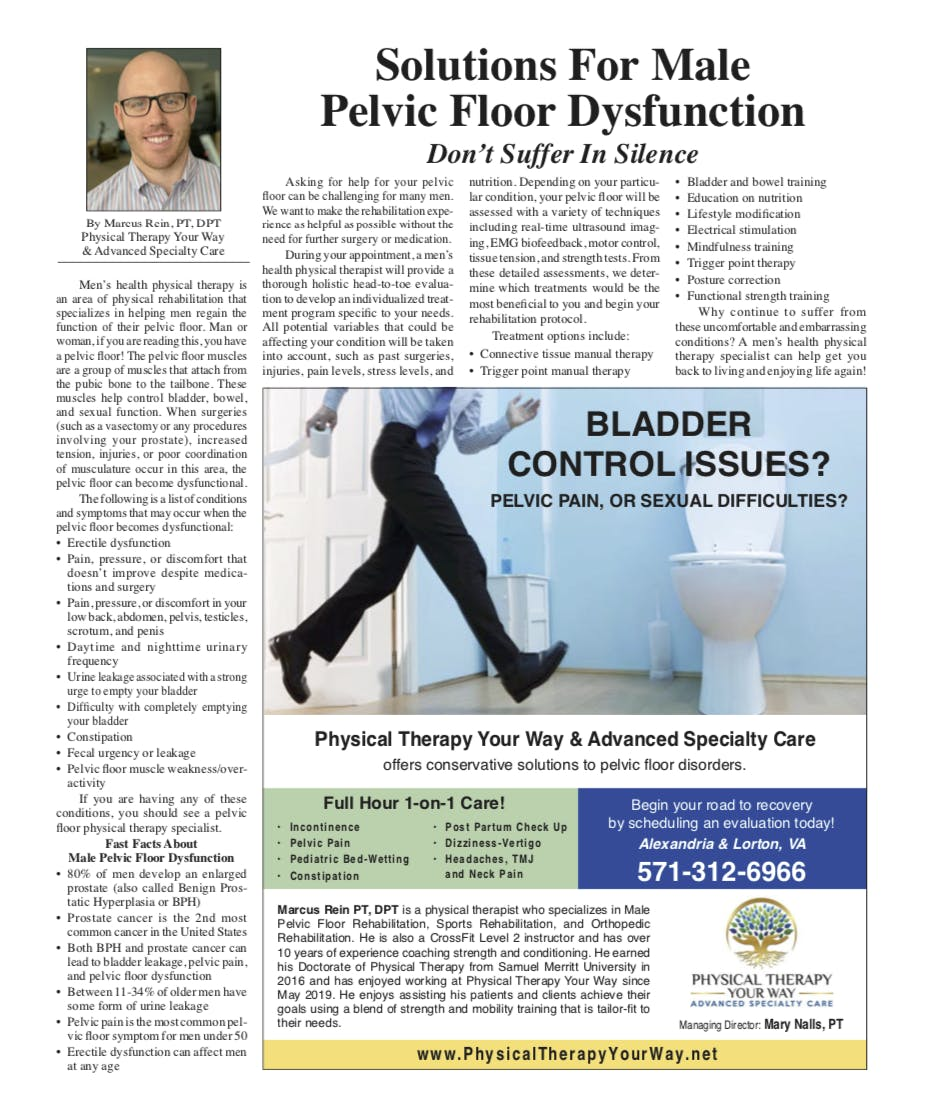Male Pelvic Floor PT, Physical Therapy, Alexandria VA, Lorton Va, Prostatitis, Incontinence, Sexual Dysfunction