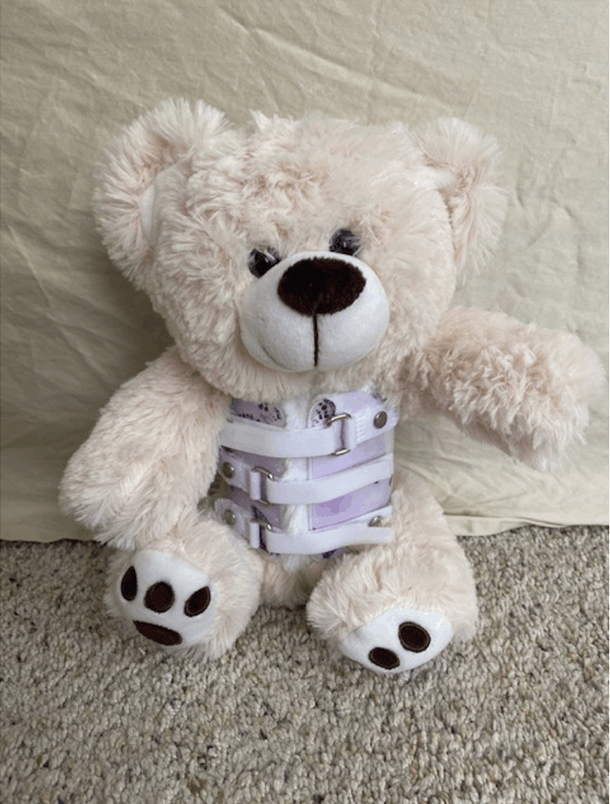 Caroline's Teddy Bear with matching Boston Brace