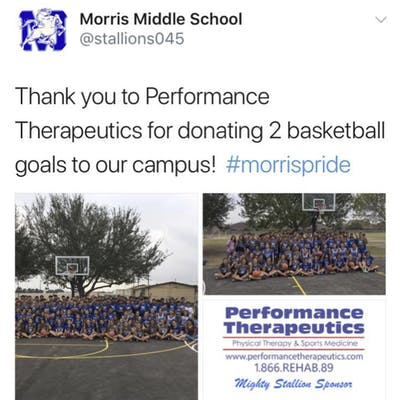 Morris Middle School Basketball Hoop Donation Event
