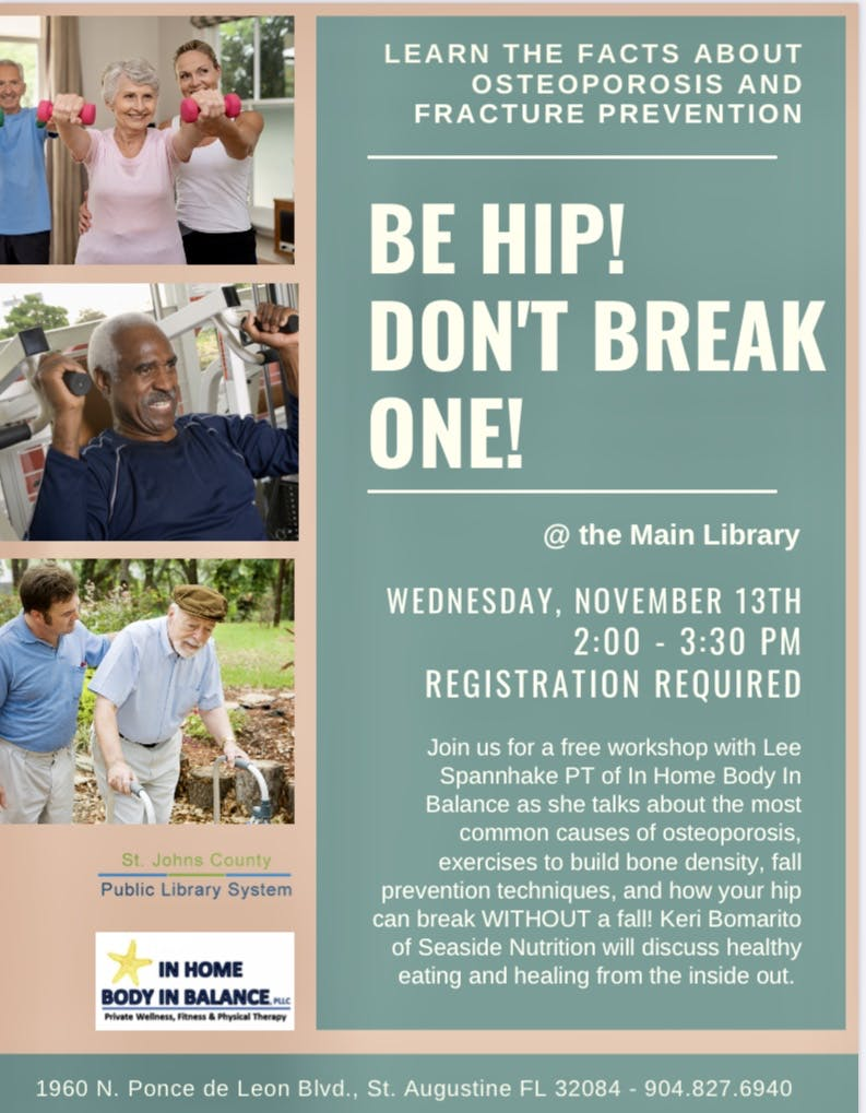 Be Hip! Don't Break One | Wednesday, Novemeber 14th | 2:00 - 3:30 PM | Registration Required