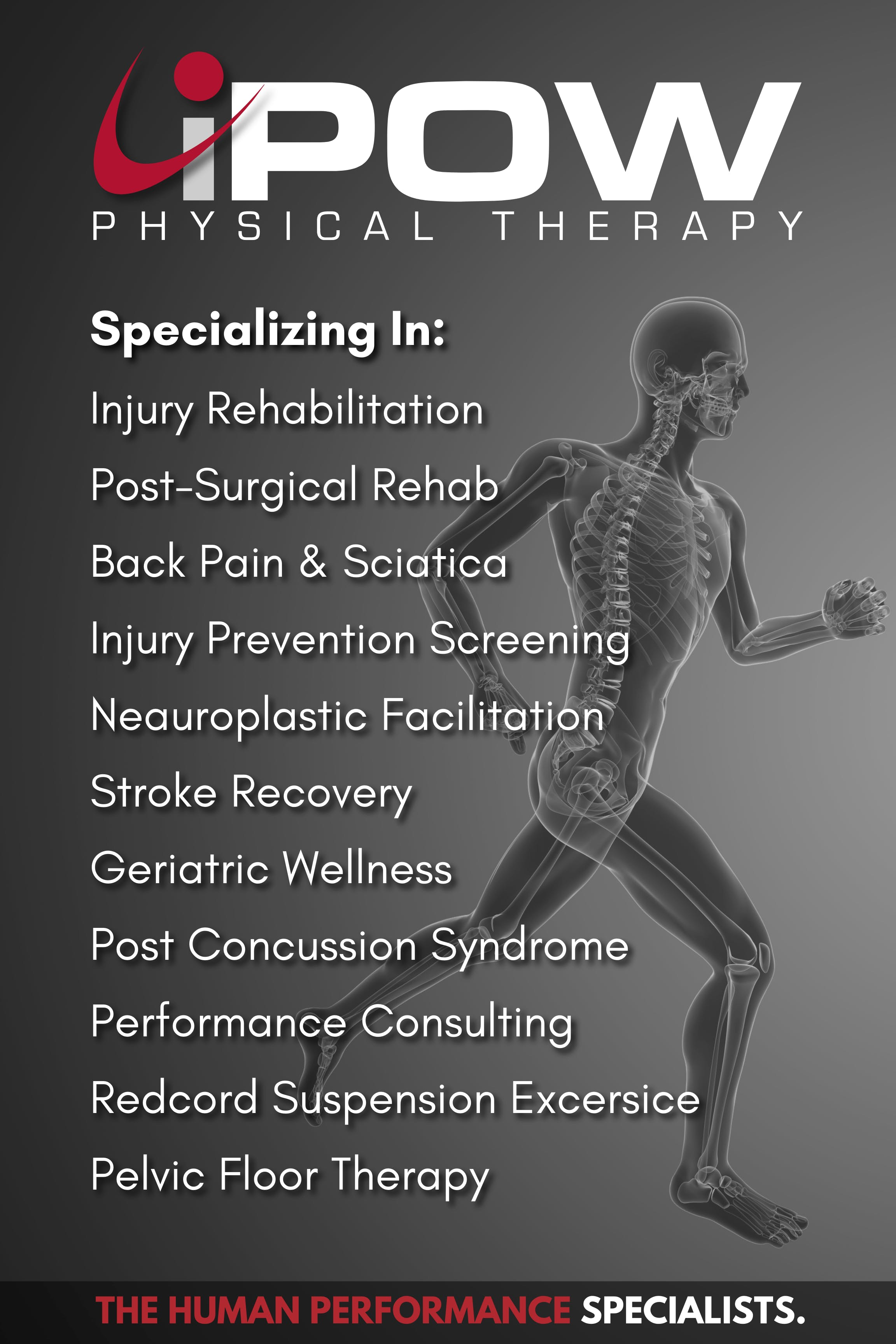 Specializing in: Injury Rehabilitation, Post-surgical Rehab, Back Pain & Sciatica, Injury Prevention Screening, Neuroplastic Facilitation, Stroke Recovery, Geriatric Wellness, Post Concussion Syndrome, Sports Performance Consulting, Redcord Suspension Exercise