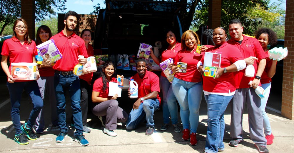 Sterling Physical Therapy & Wellness donates school supplies, cleaning supplies, and baby supplies to those in need after the Hurricane Harvey aftermath.