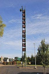 The neon sign tower in Cedar Hills