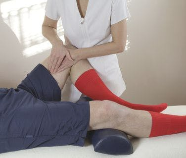 Physical Therapist treating a groin pull