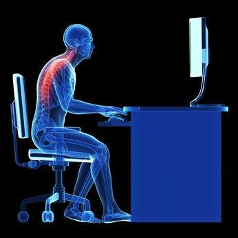 Work posture causes upper back pain