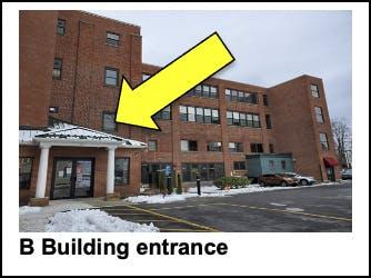 B building entrance