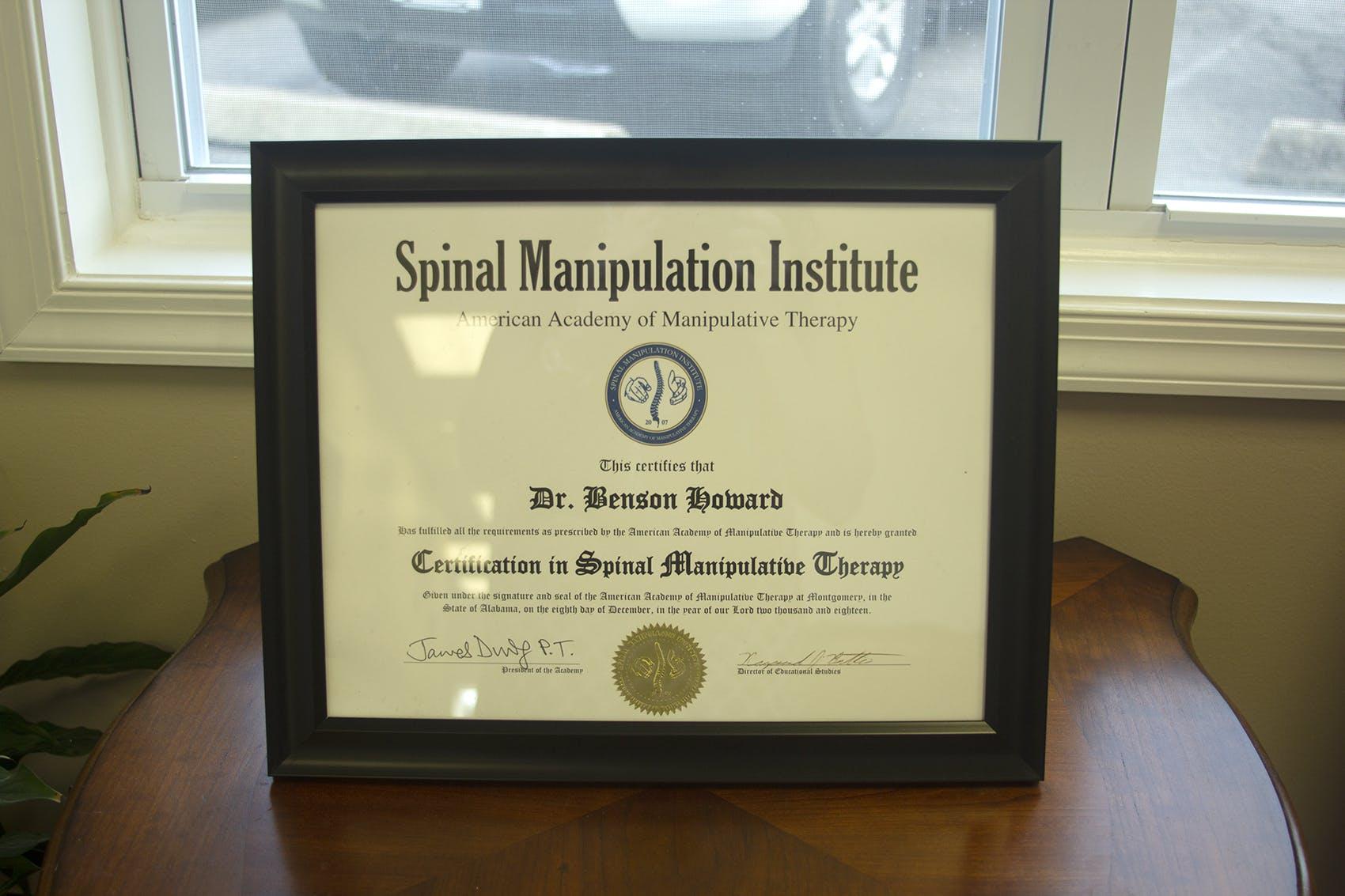 Spinal Manipulation Certificate