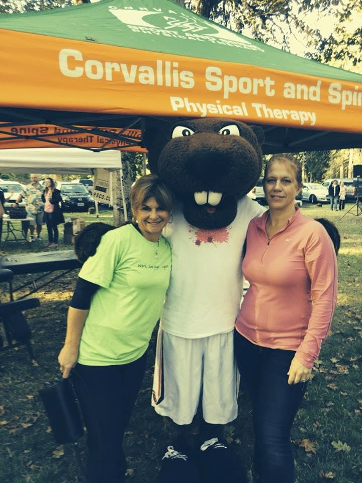 """Carrol and Theresa with CSSPT supporting the """"Color Me Pink"""" 5K this fall."""
