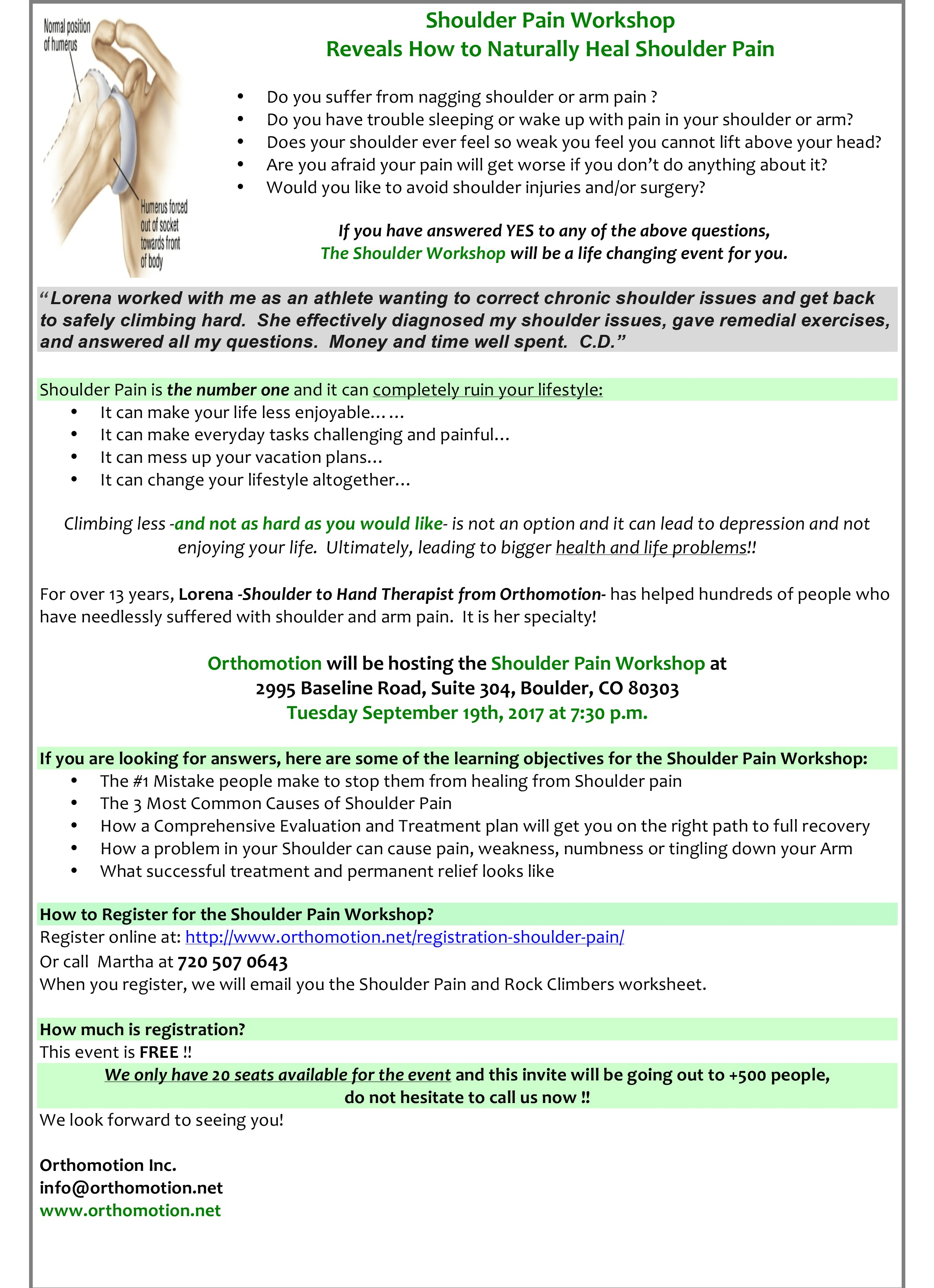 Shoulder Pain Workshop Reveals How to Naturally Relieve Shoulder Pain